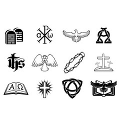 set of christian icons vector image