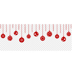 set red christmas balls hanging ornaments vector image