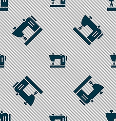Sewing machine icon sign Seamless pattern with vector