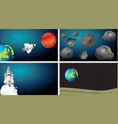 Space scene planet set vector