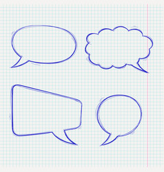 speech bubbles doodle style blue hand drawn vector image