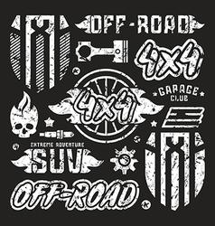 Stock set of off road car badges vector