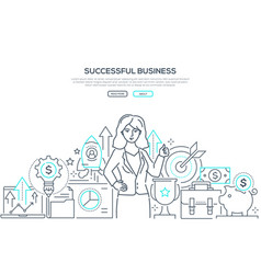 successful business - line design style web banner vector image