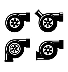 Turbocharger Icons Set Isolated on a White vector