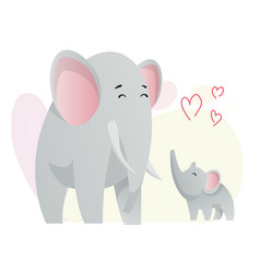 Two elephant look at each other animals mom vector