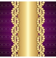 Vintage gold and purple background with laurel vector
