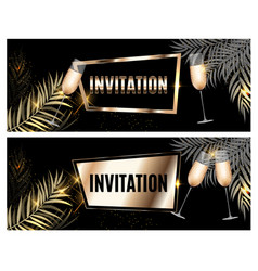 vintage luxury golden ornate invitation with palm vector image