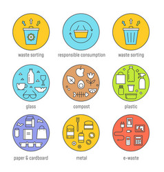 Waste sorting and responsible consumption vector