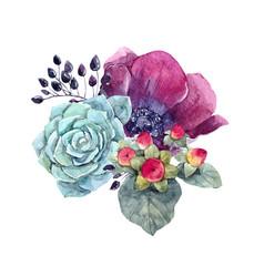 Watercolor floral composition vector