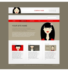 Website design template with asian woman vector image