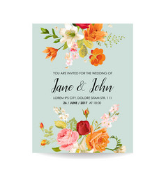 wedding invitation card with watercolor lily vector image