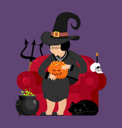 Witch with black cat halloween character skull vector