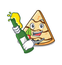 With beer crepe mascot cartoon style vector