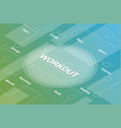 workout concept words isometric 3d word text vector image