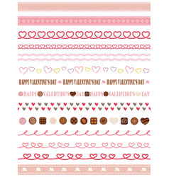 a set of seamless borders for valentines day vector image vector image