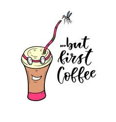 cartoon character coffee mug modern vector image