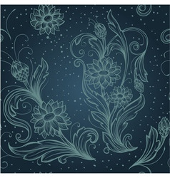 seamless blue pattern with decorative flowers vector image vector image