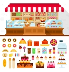 Bakery with confectioneryon the shelves vector image