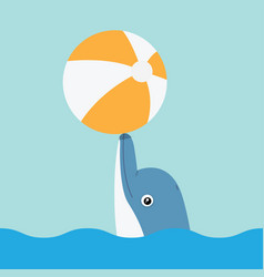 dolphin playing with ball vector image vector image