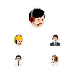 flat icon telemarketing set of hotline help call vector image