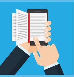 hand holding a mobile phone with an open book on vector image