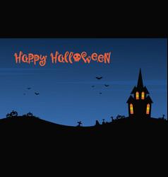 Happy halloween night with castle vector