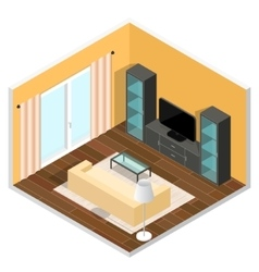Interior of a Living Room Isometric View vector image vector image