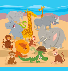 safari wild animal characters cartoon vector image