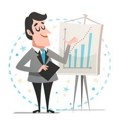 Happy businessman giving a presentation vector