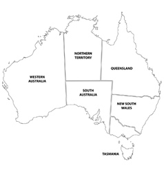Outline map of the states of Australia vector image vector image