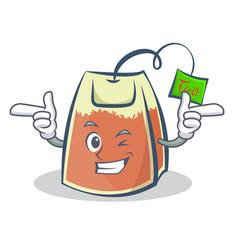 Wink tea bag character cartoon vector