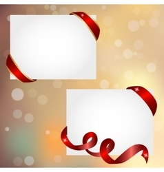 christmas banner with red ribbon vector image vector image