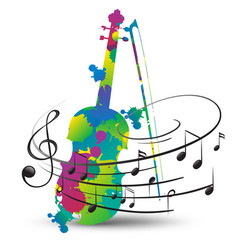 colorful violin and music notes on white vector image