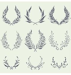 Floral wreath ornaments vector