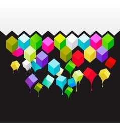 Flying colored 3d cubes abstract background vector image