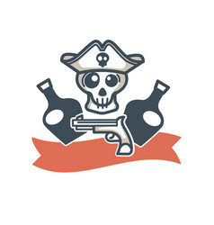 jolly roger pirate icon flag skull and vector image vector image