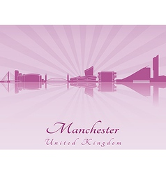 Manchester skyline in purple radiant orchid vector image vector image