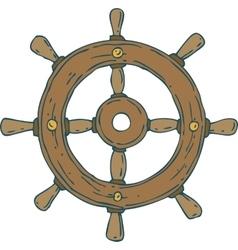 Retro ship steering wheel vector