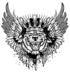 tiger head and wings vector image vector image