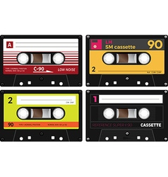 Vintage compact audio cassettes vector image