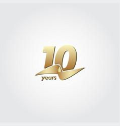 10 years anniversary celebration gold ribbon vector
