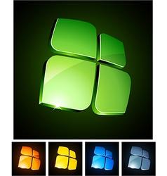 3d vibrant emblems vector image