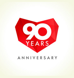 90 anniversary heart logo vector
