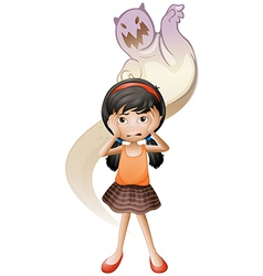A scared child with ghost at her back vector