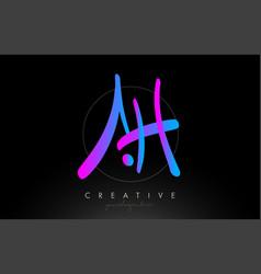 ah artistic brush letter logo handwritten vector image