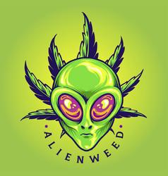 Alien weed cannabis leaf cartoon vector