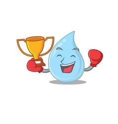 An elegant boxing winner raindrop mascot design vector