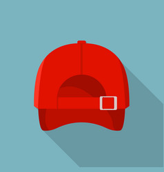 back of red baseball cap icon flat style vector image