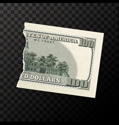 back side of half piece of fake one hundred usa vector image