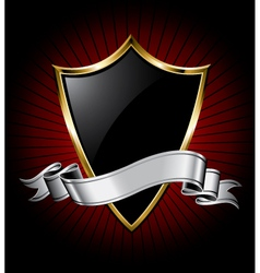 Black shield and silver ribbon vector